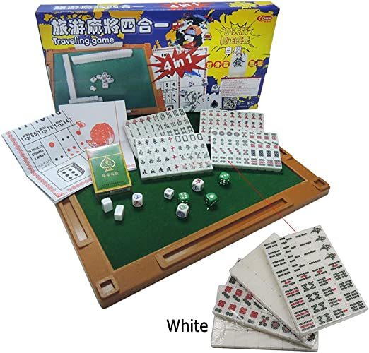 ALTINOVO Juego de Juego de Mahjong de tamaño pequeño Chino para Viajes al Aire Libre, 144 Azulejos con Mesa de Mahjong, Dados y Naipes. (Mah Jong, Mahjongg, Mah Jongg),White: Amazon.es: Hogar