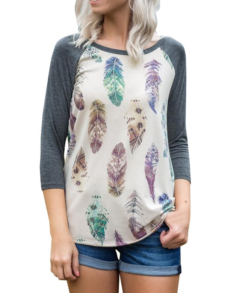 Farktop Womens 3/4 Sleeve Feather Print Cute Shirts Casual Color Block Long Tops Blouses