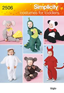 simplicity sewing pattern 2506 toddler costume patterns for mouse dinosaur panda angel