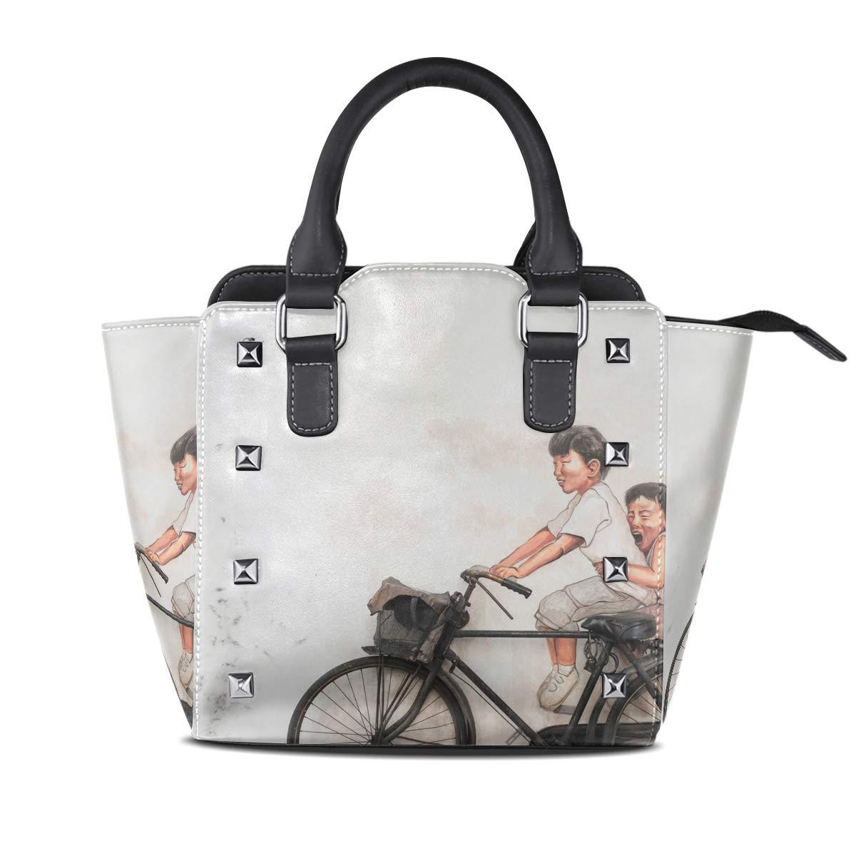 Design 2 Handbag Brown Brick Wall With Woman Painting Genuine Leather Tote Rivet Bag Shoulder Strap Top Handle Women