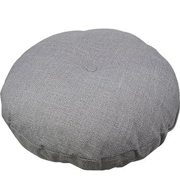 AB Crew Japanese Style Linen Zafu Meditation Yoga Bolster Tatami Floor Round Cushion(Grey,17.7