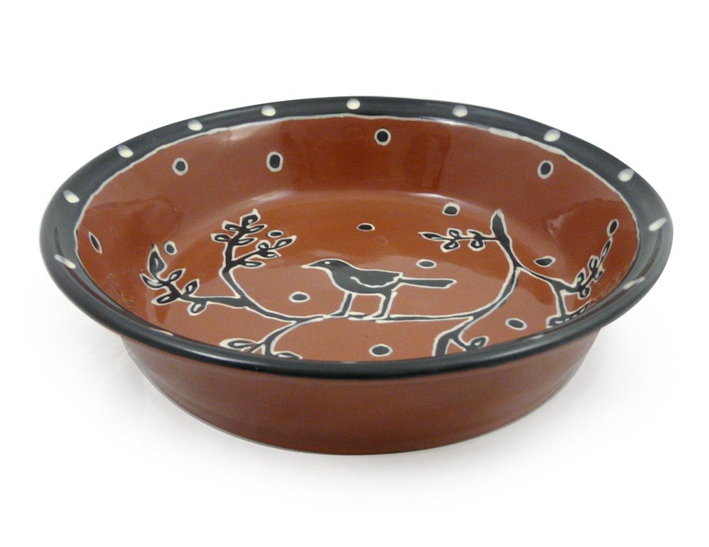 Blackbird Motif 9.5-inch American Made Terra-cotta Pottery Deep Dish Pie Plate