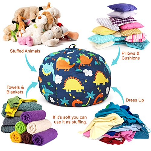 BROLEX 27'' Stuffed Animals Bean Bag Chair Cover-100% Cotton Canvas Kids Toy Storage Zipper Bags Comfy Pouf for Unisex Boys Girls Toddlar, Dinosaur Print by BROLEX (Image #2)