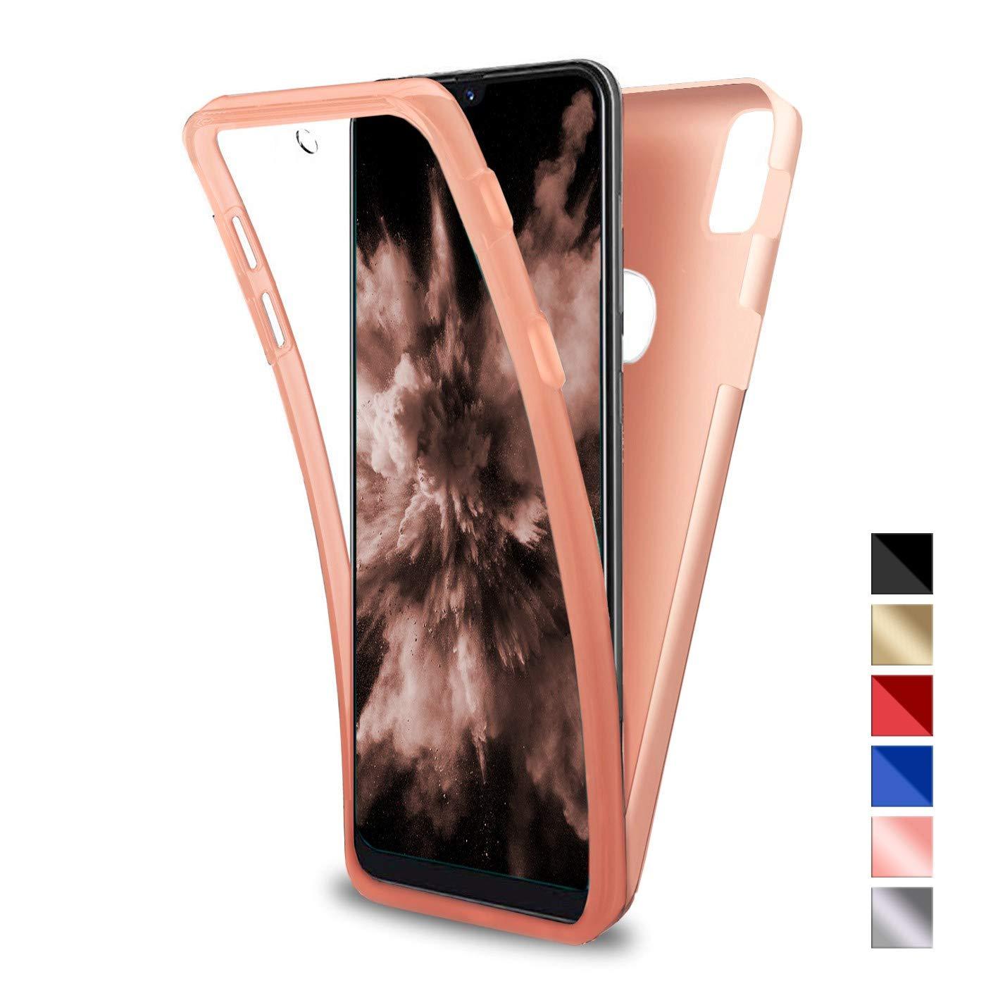 Ultra Slim Doble Cara Carcasa Protector TPU Silicona Oro PC Dura Resistente Anti-Ara/ñazos Protectora Case Cover para Huawei Y6 2019 Funda para Huawei Y6 2019
