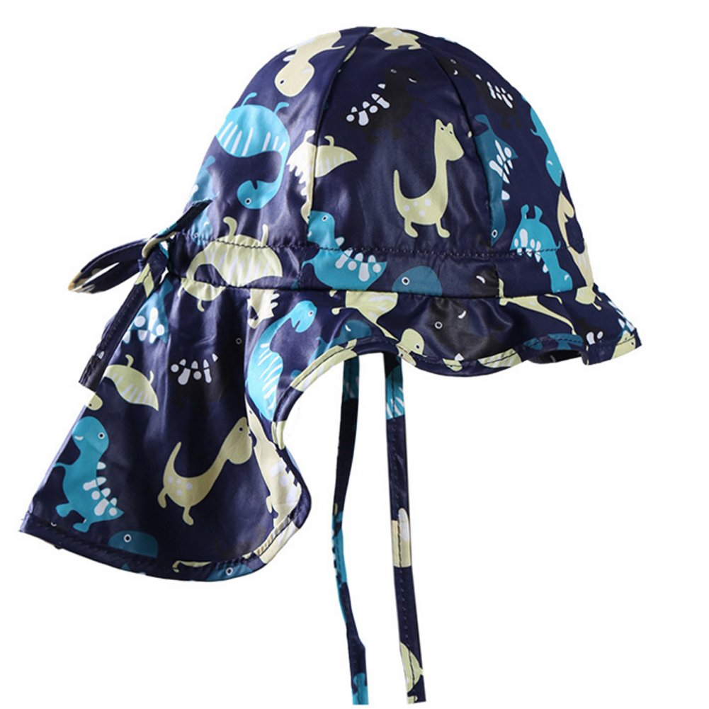 Baby Sun Hat with Flap - Child Toddler Boys Summer UPF 50+ Floppy Dinosaur Hat Adjustable Cap 0-6 Months by Exemaba