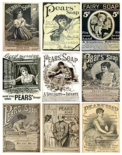 (Vintage Pear's Soap Ads Collage Sheet #101 for Scrapbooking, ATC Cards, Altered Art Scrapbooking, Decoupage, Labels, Gift Tags)