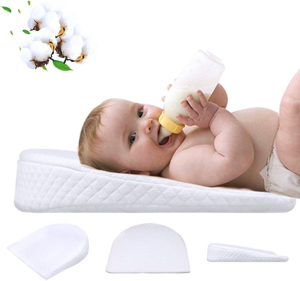 Almohada Bebé, Forma Segura De La Cabeza del Bebé Almohada Desmontable con Soporte para El Cuello para Recién Nacidos Y Bebés - Espuma De Memoria Suave
