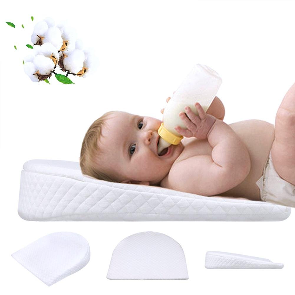 Big-time Bassinet Wedge Pillow, Baby Crib Wedge for Reflux Universal Memory Resilience Cotton & Waterproof Layer Removable Cover Anti-Reflux Pillow for Baby Mattress and Sleep