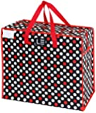Le Sac Large Heavy Duty Zippered Storage Tote Bag. Great to Use As a Storage bag, Laundry Bag, Picnic bag or Grocery Bag, Dot Print