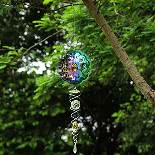 Ymeibe Galvanized Wind Spinner Hanging Garden Wind Spinner with Helix Spiral Tail and Glass Ball 3-D Stainless Steel Kinetic Twisting Decor for Patio, Deck or Yard (Sun/Colored)