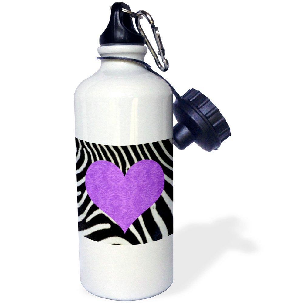 3dRose wb_20390_1 Punk Rockabilly Zebra Animal Stripe Purple Heart Print Sports Water Bottle, 21 oz, White