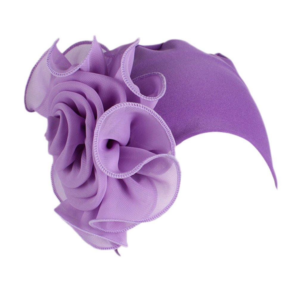 HTDBKDBK Women Solid Color Retro Big Flowers Hat Turban Brim Hat Cap Pile Cap Ladies Turban Purple