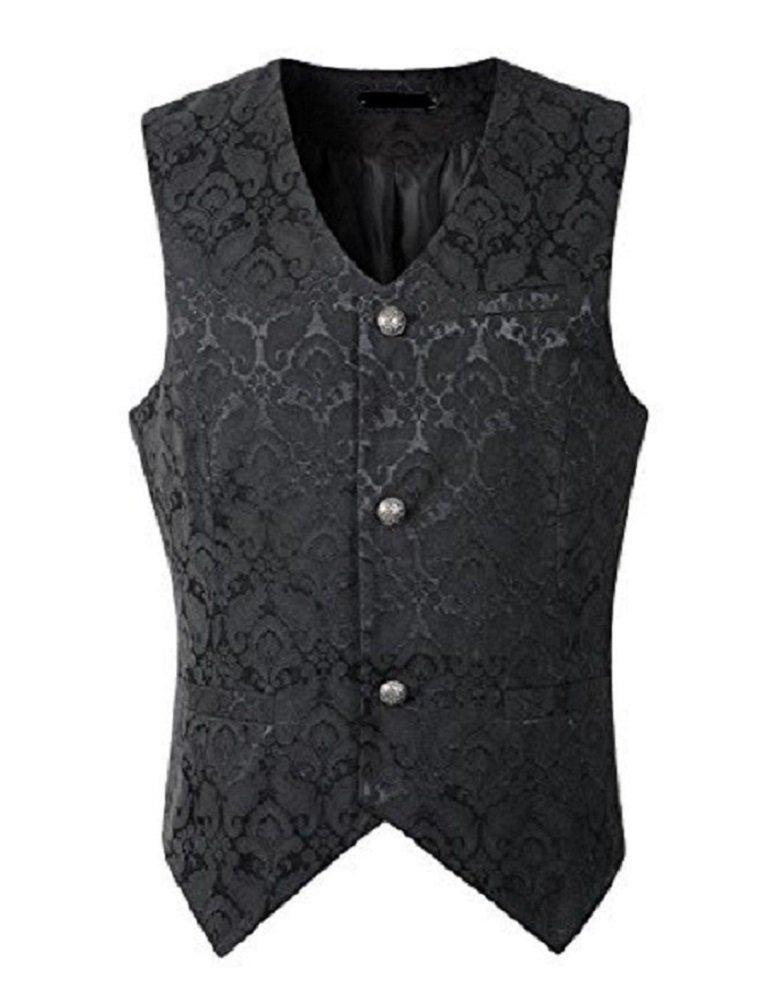 Darkrock Men's Brocade Vest Waistcoat Gothic Steampunk Victorian/Western-Reenactment (X-Large, Brocade)
