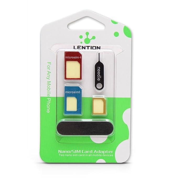 LENTION 5-en-1 tarjeta SIM Nano a Micro / tarjeta SIM Estándar kit polaco chip adaptador convertidor con herramientas y PIN de la SIM