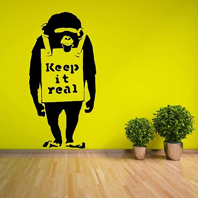 Ajcwhml Vinilo extraíble Bansky Chimp con Keep It Real ...