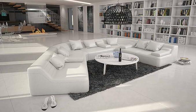 Catoca designer wohnlandschaft im xxl format recamiere links couch garnitur für wohnzimmer weiss 410cm x 272cm amazon de küche haushalt