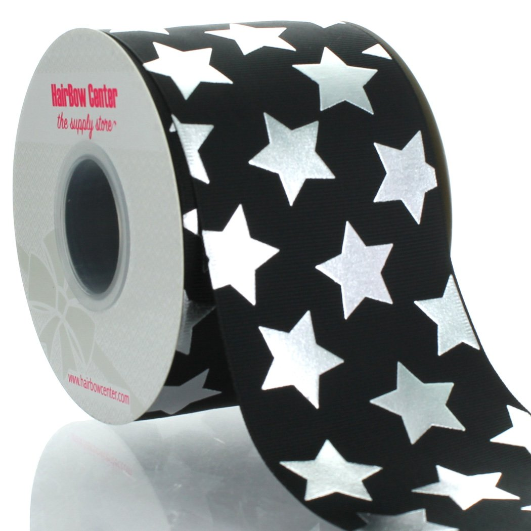 3'' Black w/ Silver Stars Grosgrain Ribbon 100yd by HairBow Center LLC (Image #1)