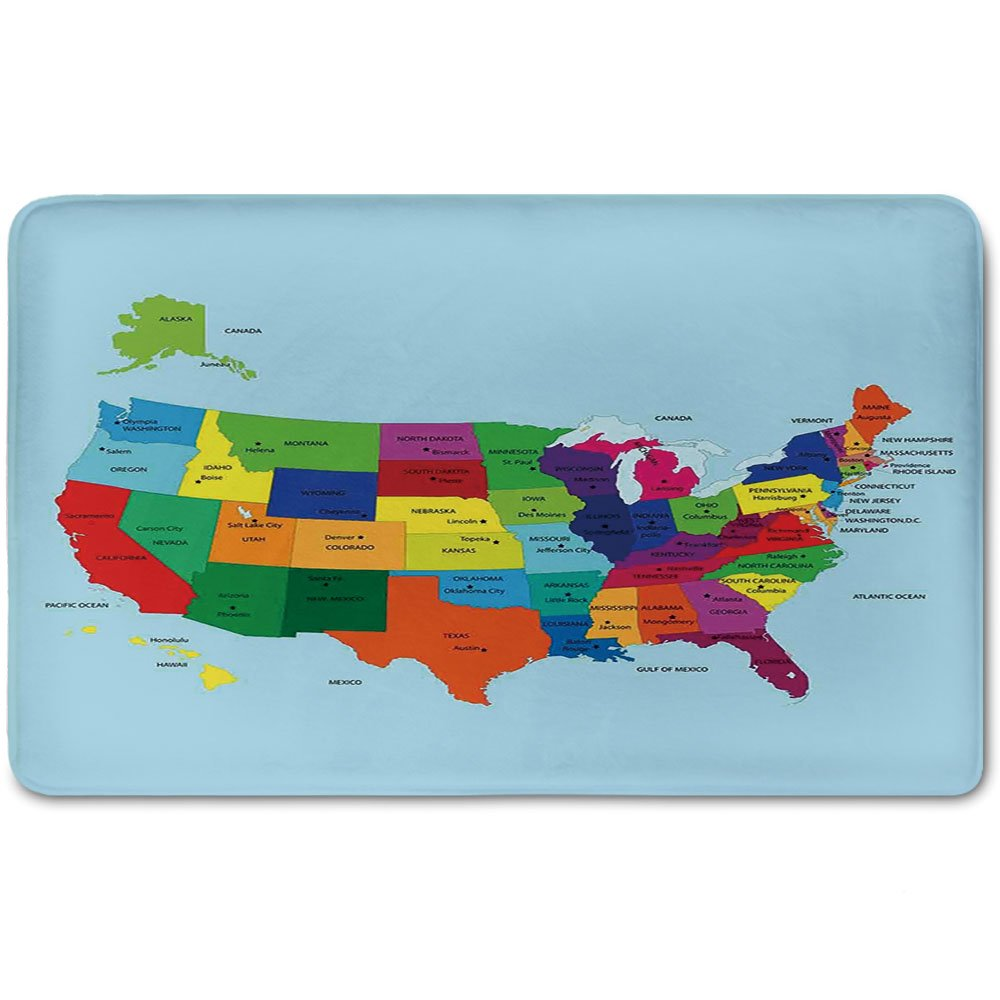 Memory Foam Bath Mat,Kids,Educational Map of America USA with States and Capitals City California Texas New York Printed Art DecorativePlush Wanderlust Bathroom Decor Mat Rug Carpet with Non Slip Back