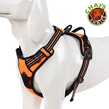 Chai's Choice Best Front Range Dog Harness. 3M Reflective Outdoor Adventure Pet Vest with Handle and Two Leash Attachments