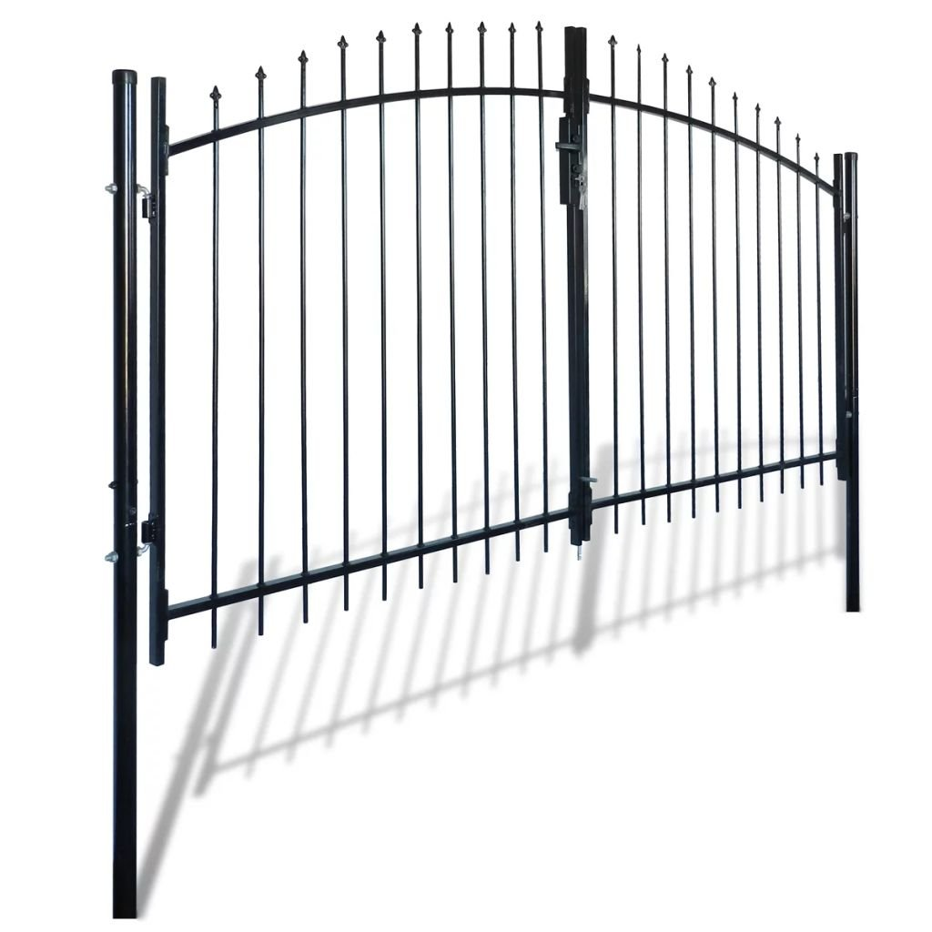 Millifly Outdoor Decorative Garden Gate Heavy Duty Door Fence Gate with Spear Top Practical Durable Barrier Double Door 10' x 5' by Millifly