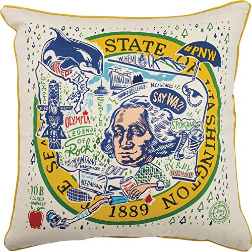Primitives by Kathy Home State of Washington Decorative Throw Pillow 20-Inch Square