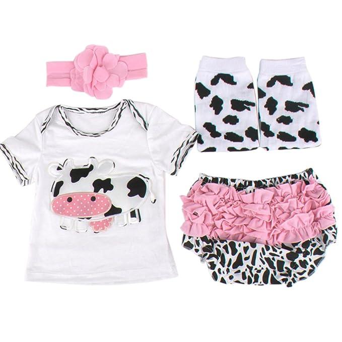 Conjuntos Estampado de Vacas Bebé Niñas Niños, 0-18 Meses