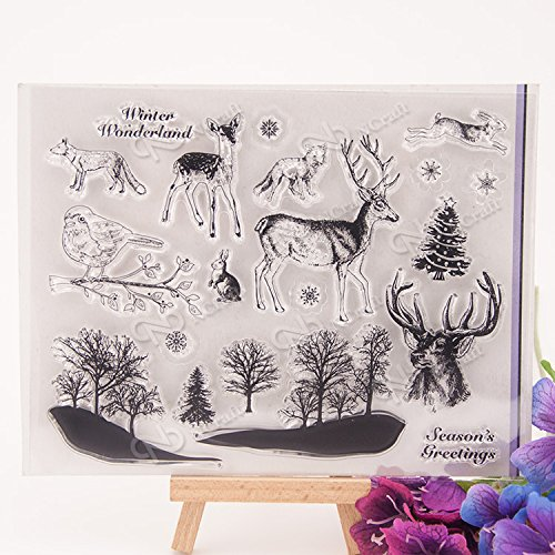 DadaCrafts(TM) 5 by 7-Inch Winter Forest Deer DIY Clear Stamps For Journal Card Making Scrapbooking and 2 Sheets Stickers Deer Stamps