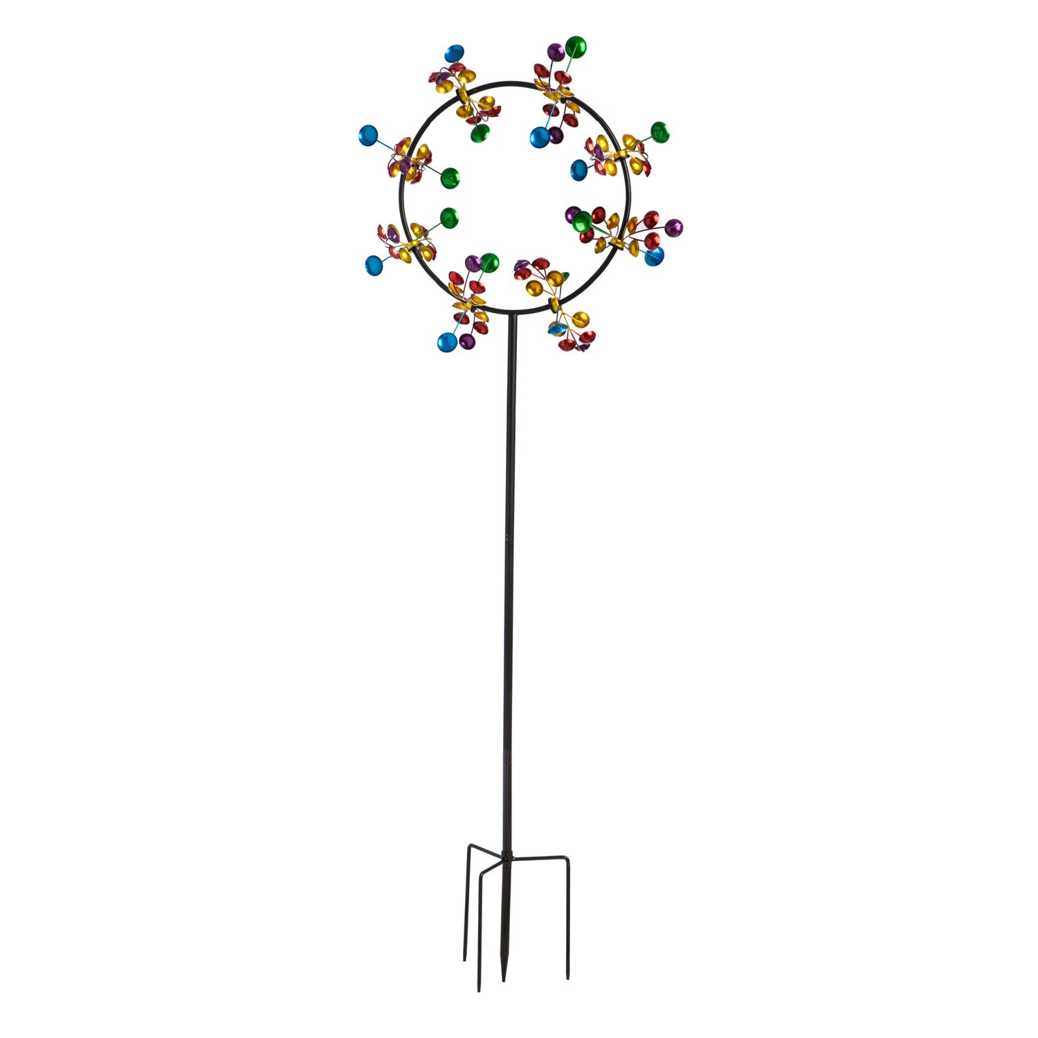 Evergreen 75-inch Cheerful Jubilee Outdoor Safe Kinetic Wind Spinner Garden Stake