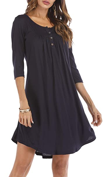 91e736bb376 Women s Button up 3 4 Sleeve Casual Swing Simple Loose T-Shirt Dress Black