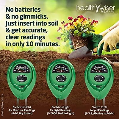 Luz y pH; Imprescindible para sus herramientas de jardiner/ía; Medidor de Suelo para Interiores y Exteriores con Precisi/ón del 100/% Medidor de pH del Suelo; Kit de Test de Suelo 3-en-1 para Humedad