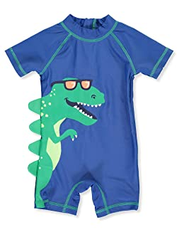 Carter's 1 Piece Baby Boy's Dinosaur Rashguard Swim Bathing Suit 50+ UPF