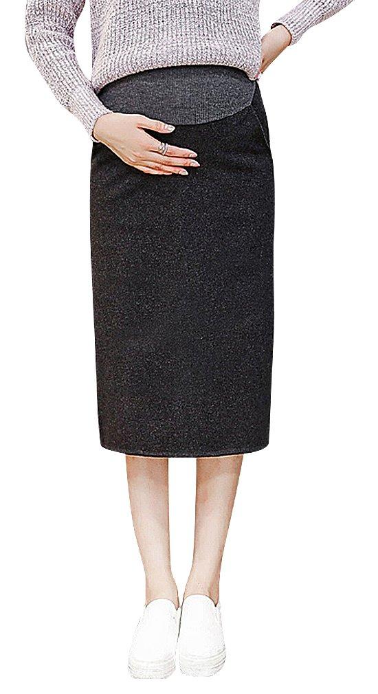 Hibukk Dark Gray Black Straight Formal 2 Pocket Midi Woollen Maternity Skirt, Dark-Grey M,Manufacturer(XL)