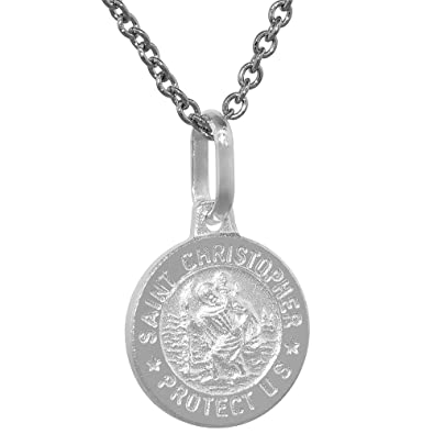 fb89599838d Dainty Sterling Silver St Christopher Medal Necklace 1/2 inch Round Italy,