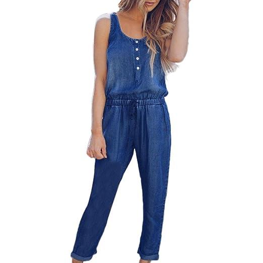 b2e017fd743 Amazon.com: Womens Basic Classic Sleeveless Denim Jumpsuit Elastic Waist  Strappy Long Jumpsuit Overalls: Clothing