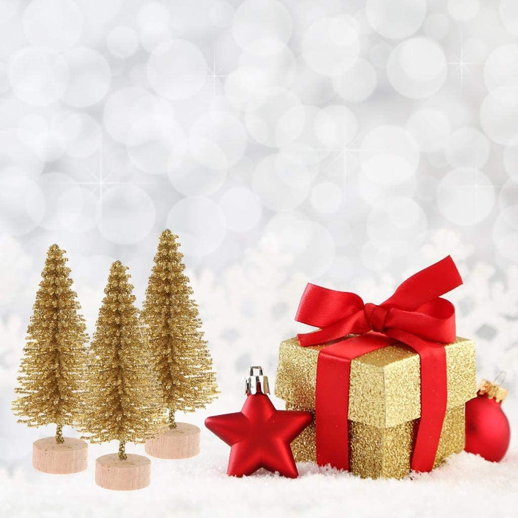 Peerless 10Pcs Mini Sisal Trees with Wood Base Artificial Christmas Pine Trees Ornaments for Winter Snow Miniature Scenes DIY Christmas Crafts Xmas Holiday Home Desk Tabletop Decor