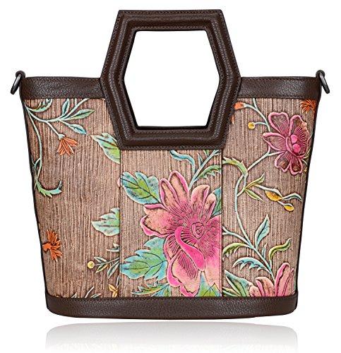 Pijushi Women's Ladies Genuine Leather Tote Purse Top Handle Shoulder Crossbody Handbags 170503 (New Brown) by PIJUSHI