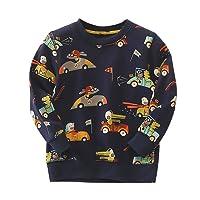 MiXiaoJie Boys Pullover Long Sleeve Crew Neck Navy Car Cartoon Print Sweatshirt Age 2-7