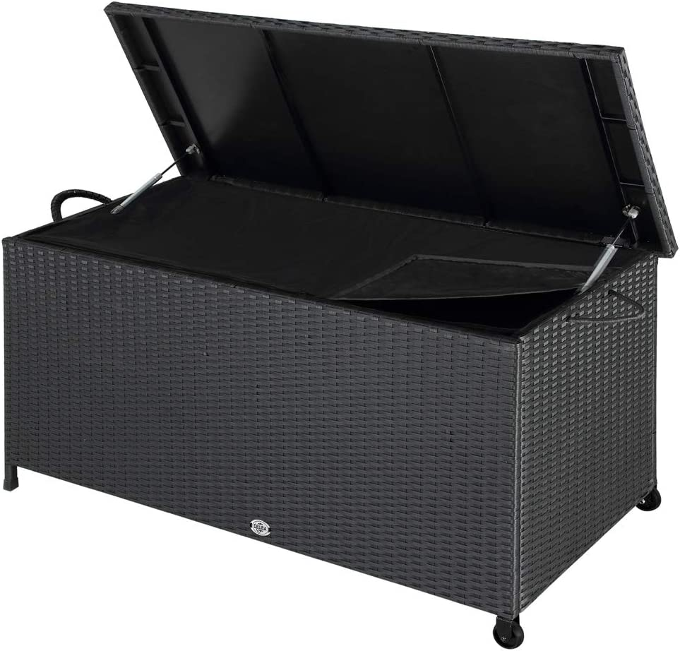 Deuba Baúl de almacenamiento de poliratán con ruedas asas y tapa revestimiento interior impermeable resistente UV jardín