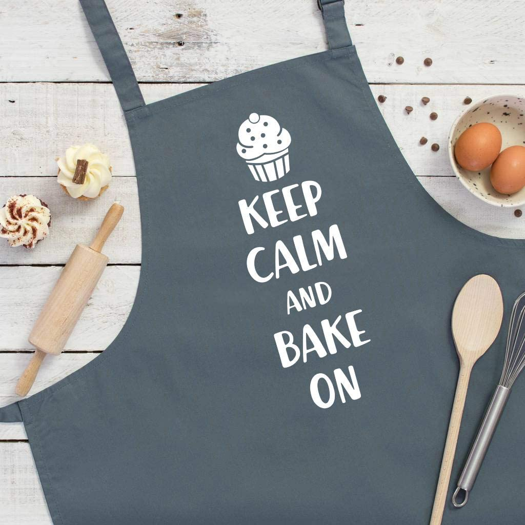 ThisWear Keep Calm and Bake On Funny Apron for Kitchen Baker Baking Two Pocket Apron for Women and Men Black