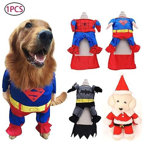 Naisidier Disfraz de Superman para Perro, Gato, Cachorro, Halloween, Ropa para Mascotas