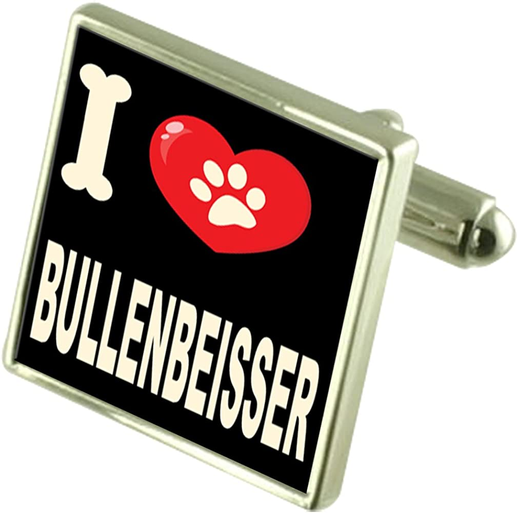 Select Gifts I Love My Dog Silver-Tone Cufflinks Bullenbeisser