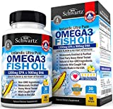 Omega 3 Fish Oil Supplement - 3000mg – Healthy Blood Pressure, Immune, & Heart Support – Promotes Joint, Eyes, Brain & Skin Health - Non GMO, Pharmaceutical Grade - EPA 1200mg, DHA 900mg Fatty Acids