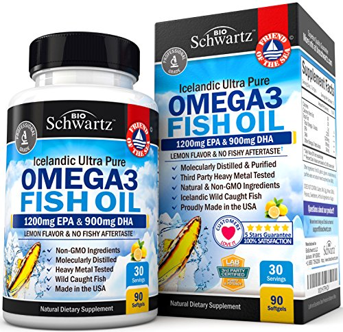 Omega 3 Fish Oil Supplement with 1200mg EPA, 900mg DHA & Fatty Acid Combination – Healthy Blood Pressure, Immune, Heart Support – Promotes Joint, Eyes, Brain & Skin Health - Non GMO Softgels