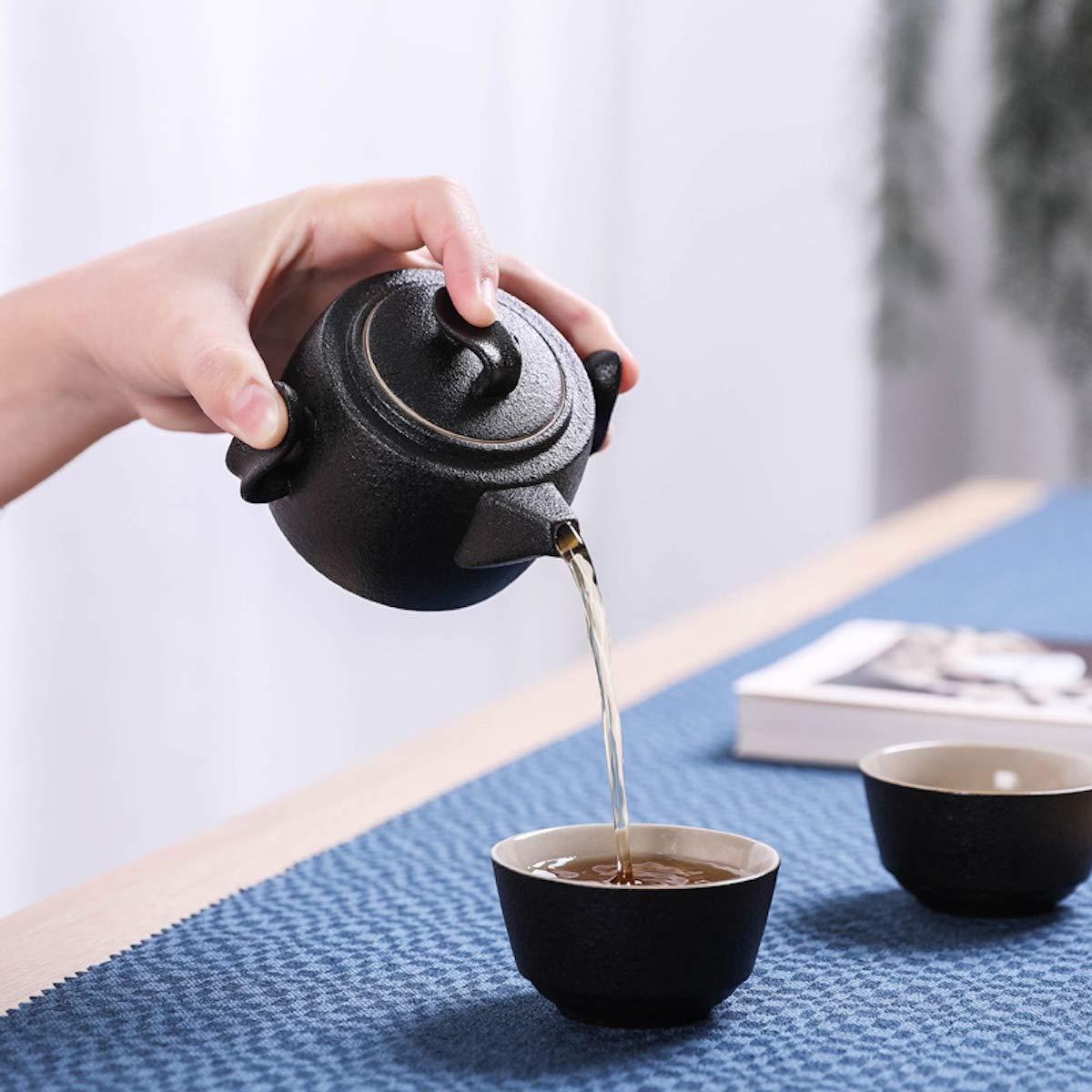 Porcelain Teapot /& Teacups /& Bamboo Tea Tray /& Tea Mat with a Portable Travel Bag Black 3 OMyTea 100/% Handmade Chinese//Japanese Vintage Kungfu Gongfu Tea Set