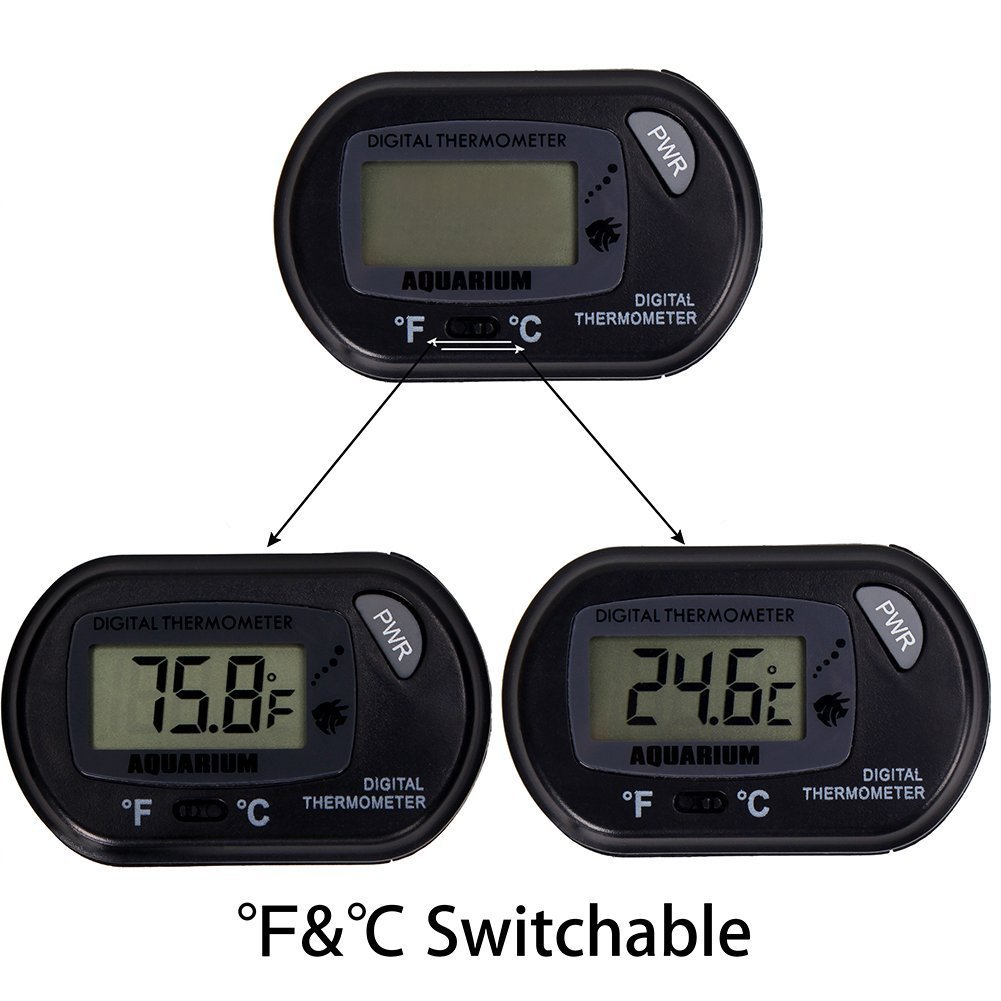 CoZroom LCD Digital Aquarium Thermometer for Fish Tank Water Vivarium Temperature Sensor, Pack of 3, Black by CoZroom (Image #5)