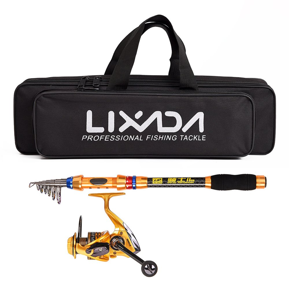 Lixada Spinning Fishing Reel and Rod Combo,Telescopic Fishing Pole Reel Set with Fishing Tackle Bag Carrier Case