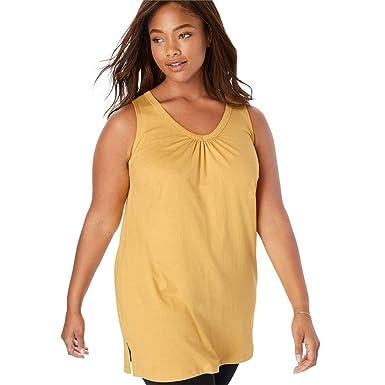 c702893deaf Woman Within Plus Size Perfect V-Neck Sleeveless Tunic - Desert Yellow