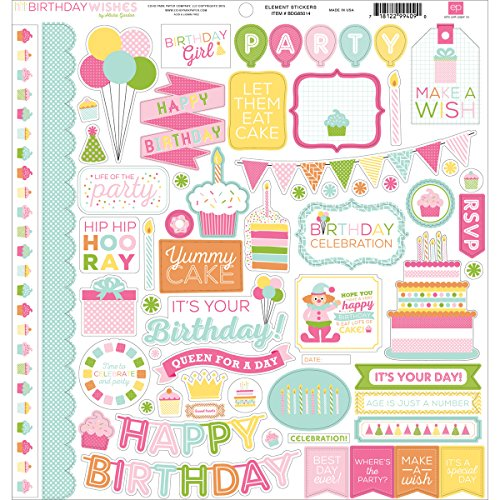 Echo Park Paper Company BDGSTK-85014 Birthday Wishes Girl Element Cardstock Stickers, 12