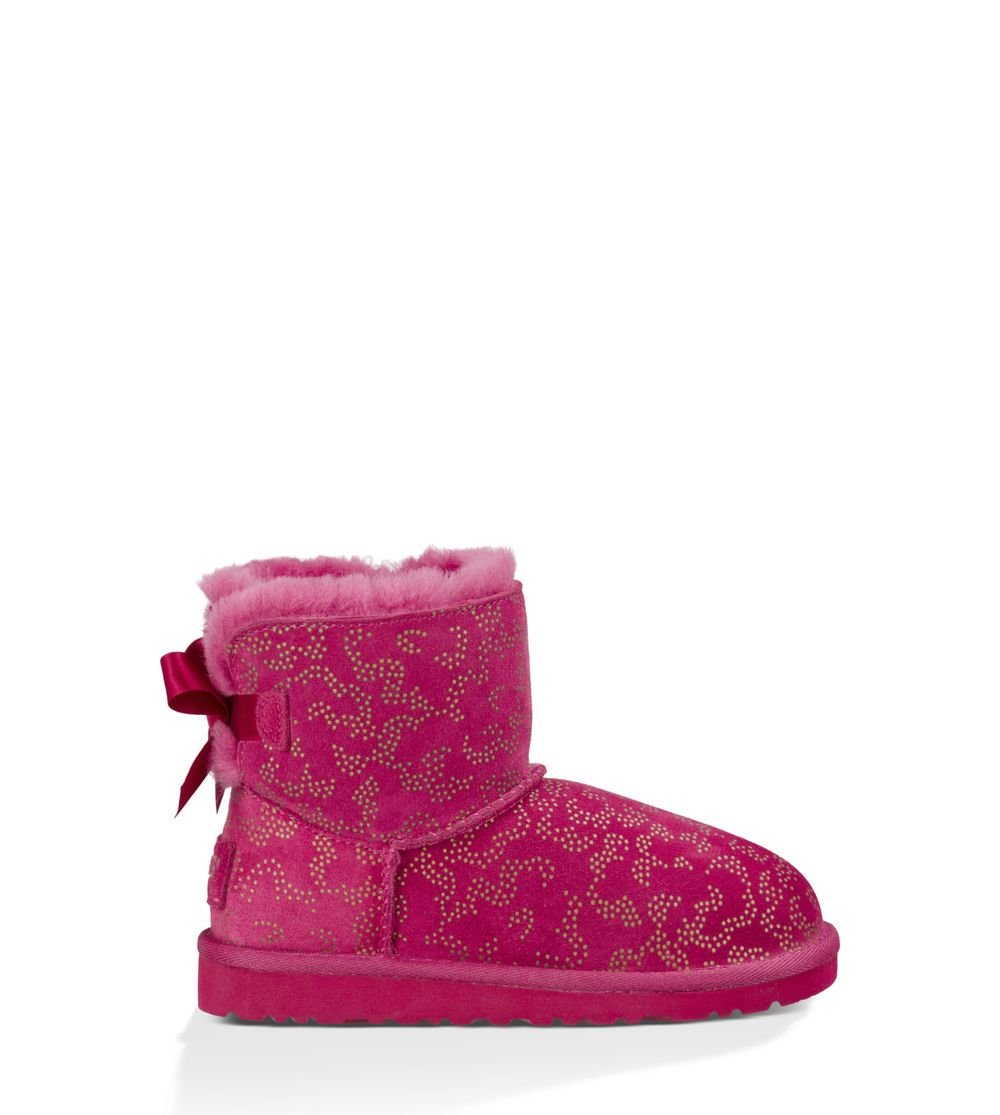 UGG Girls' Mini Bailey Bow Metallic Conifer Boot Big Kids,Red Violet,US 5 M
