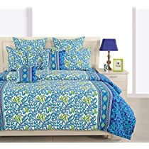 Swayam Eco Sparkle 140 TC Cotton Double Bedsheet with 2 Pillow Covers - Floral, Navy Blue